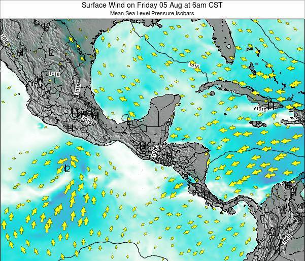 Panama Surface Wind on Wednesday 11 Dec at 12pm CST