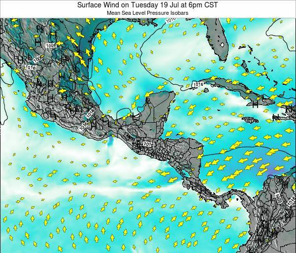 Panama Surface Wind on Monday 08 Feb at 6am CST