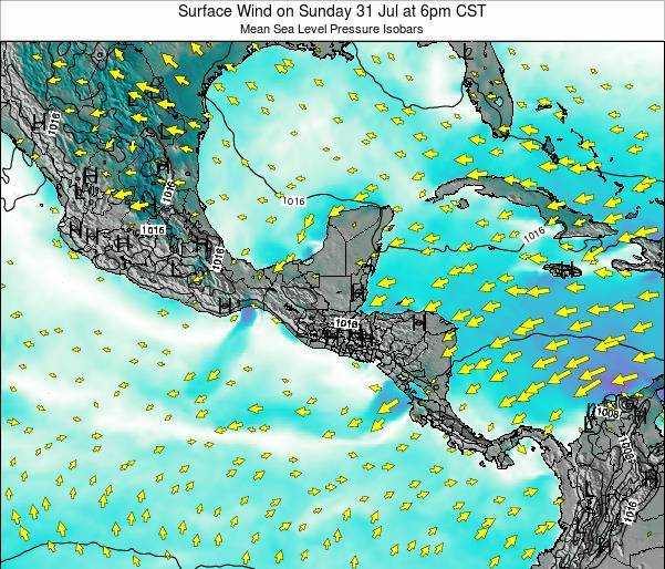 Panama Surface Wind on Monday 23 Jan at 12pm CST