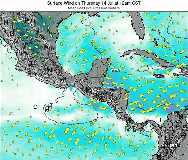 Honduras Surface Wind on Tuesday 21 May at 12pm CST