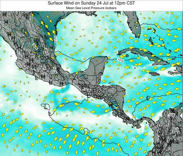 Panama Surface Wind on Tuesday 22 Jul at 6am CST