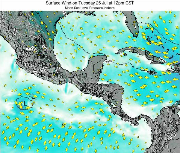 Costa Rica Surface Wind on Saturday 22 Jun at 12am CST