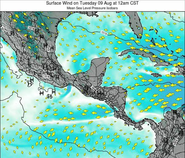 Panama Surface Wind on Monday 10 Mar at 6pm CST