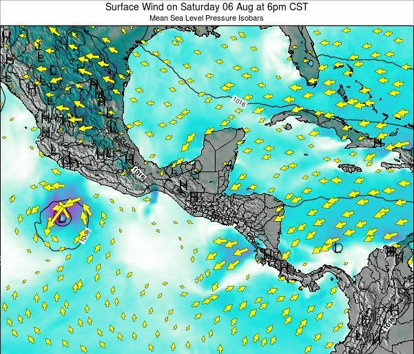 Panama Surface Wind on Sunday 27 Jul at 6pm CST