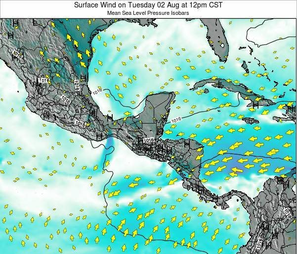 Panama Surface Wind on Sunday 03 Aug at 6pm CST