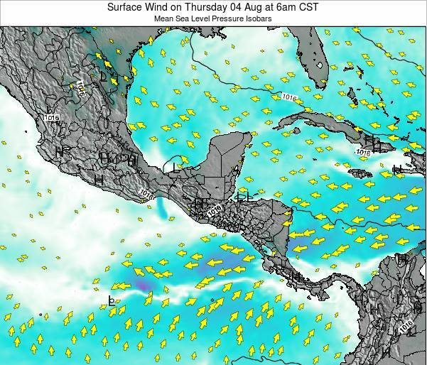 Panama Surface Wind on Sunday 27 Apr at 12pm CST