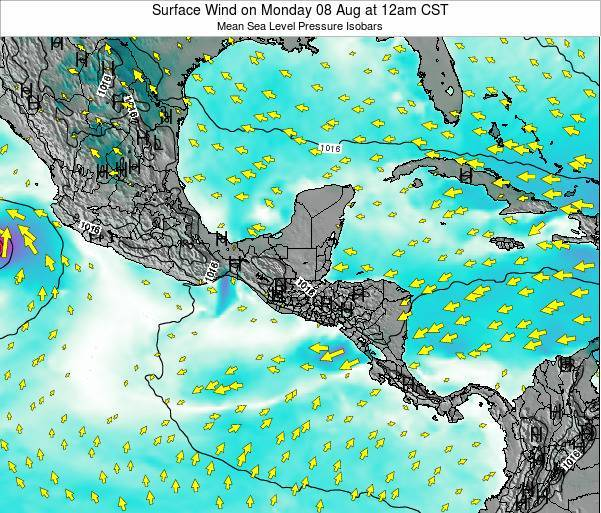 Panama Surface Wind on Sunday 08 Dec at 6pm CST