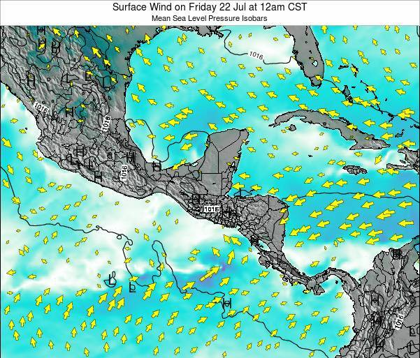 Panama Surface Wind on Sunday 02 Nov at 12pm CST