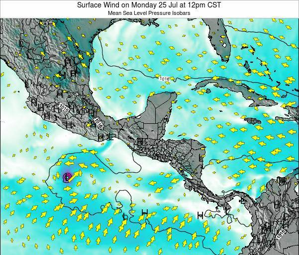 Panama Surface Wind on Wednesday 25 Oct at 6pm CST