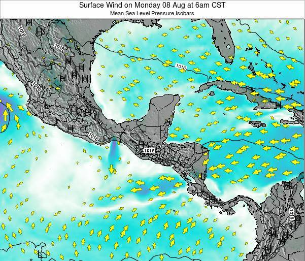 Panama Surface Wind on Saturday 25 May at 6pm CST