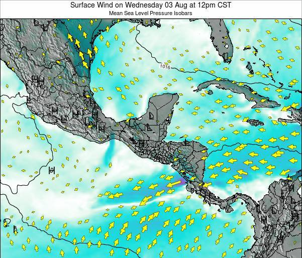 Panama Surface Wind on Tuesday 22 Apr at 12am CST