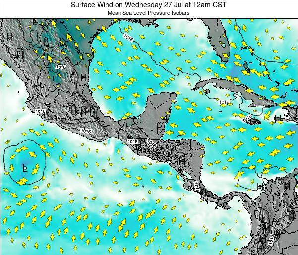 Panama Surface Wind on Wednesday 22 May at 6am CST
