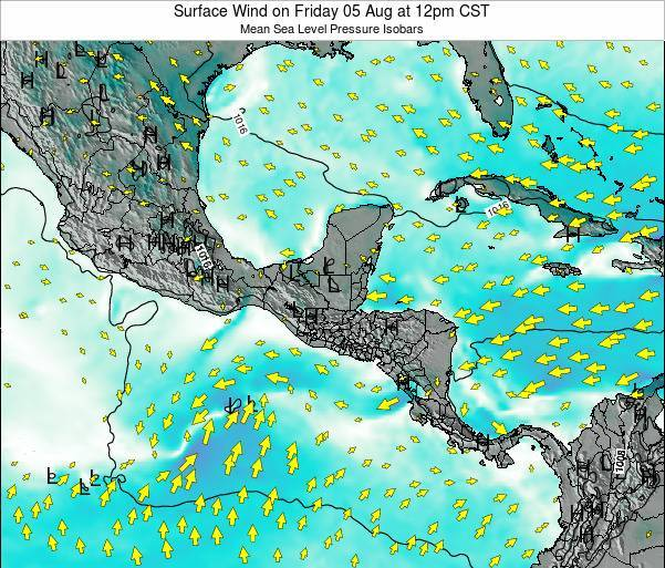 Costa Rica Surface Wind on Friday 24 May at 12pm CST