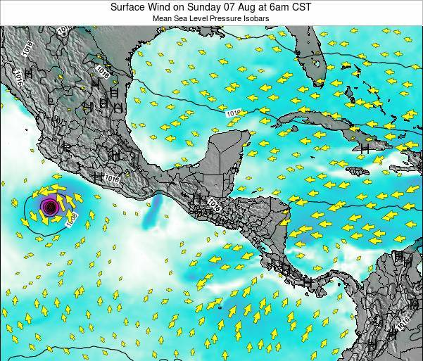 Panama Surface Wind on Saturday 25 May at 6pm CST map