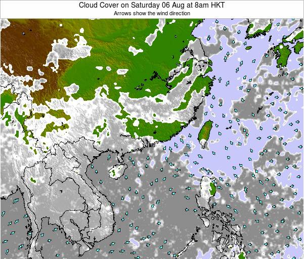 Hong Kong Cloud Cover on Wednesday 22 May at 2pm HKT map