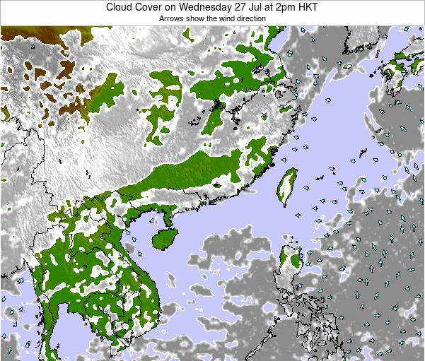 Hong Kong Cloud Cover on Tuesday 28 May at 2am HKT map
