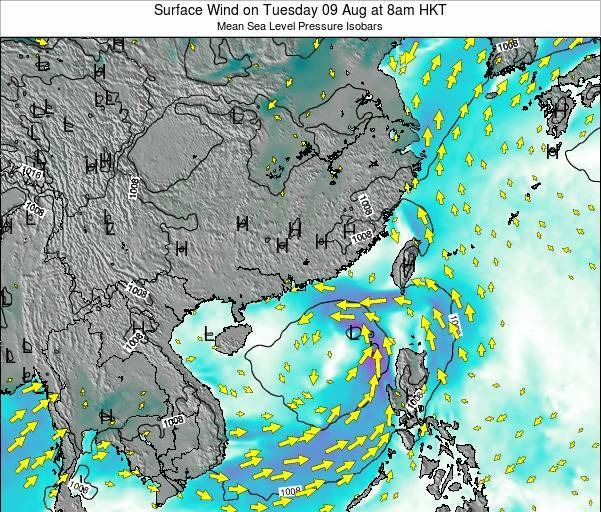 Hong Kong Surface Wind on Wednesday 29 May at 2pm HKT map
