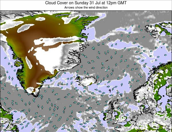 Jan Mayen Cloud Cover on Tuesday 25 Jun at 12pm GMT map