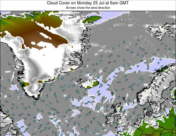 Iceland Cloud Cover on Saturday 22 Jun at 6am GMT