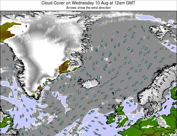 Iceland Cloud Cover on Tuesday 11 Mar at 12pm GMT
