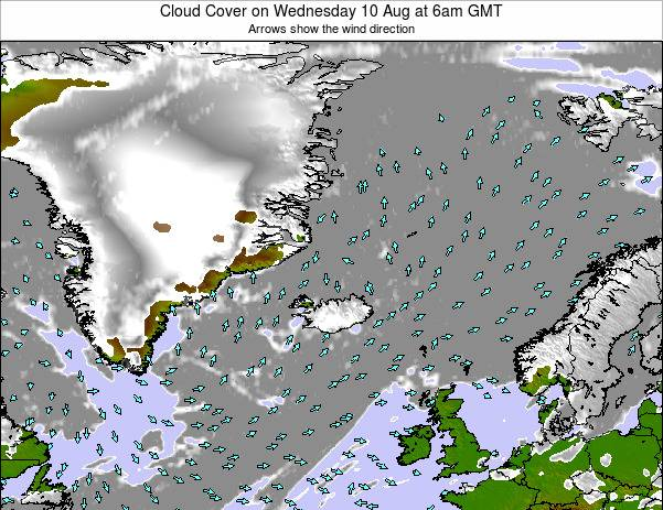 Iceland Cloud Cover on Monday 21 Apr at 6am GMT