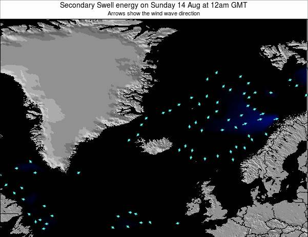 Iceland Secondary Swell energy on Tuesday 17 Dec at 12pm GMT