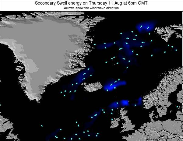 Iceland Secondary Swell energy on Tuesday 18 Mar at 6am GMT