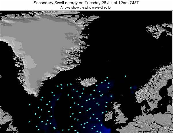 Iceland Secondary Swell energy on Thursday 18 Sep at 12pm GMT