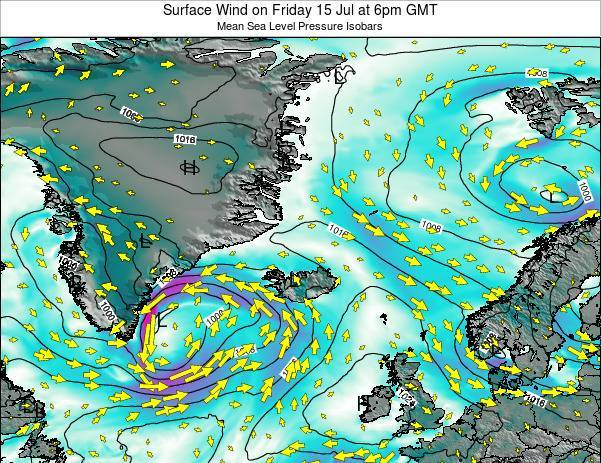 Iceland Surface Wind on Tuesday 28 May at 6am GMT map