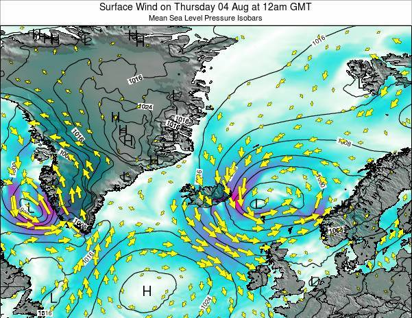 Iceland Surface Wind on Sunday 23 Jun at 12am GMT map