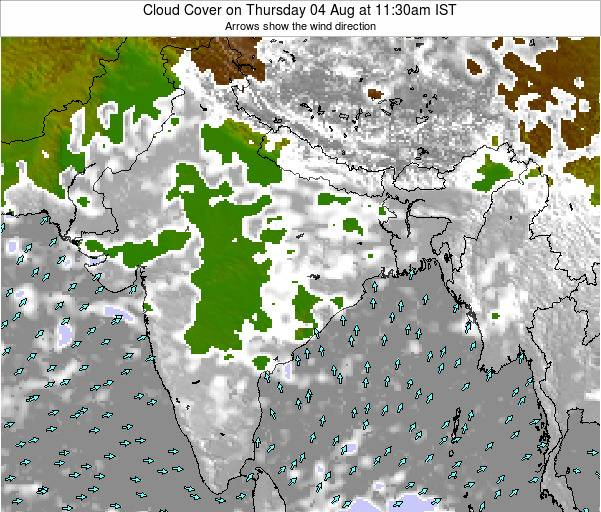 India Cloud Cover on Thursday 23 May at 11:30pm IST