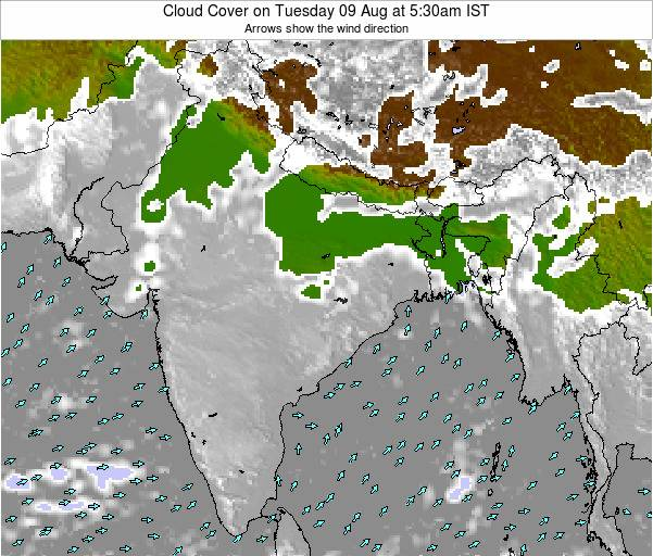 India Cloud Cover on Monday 27 May at 11:30am IST