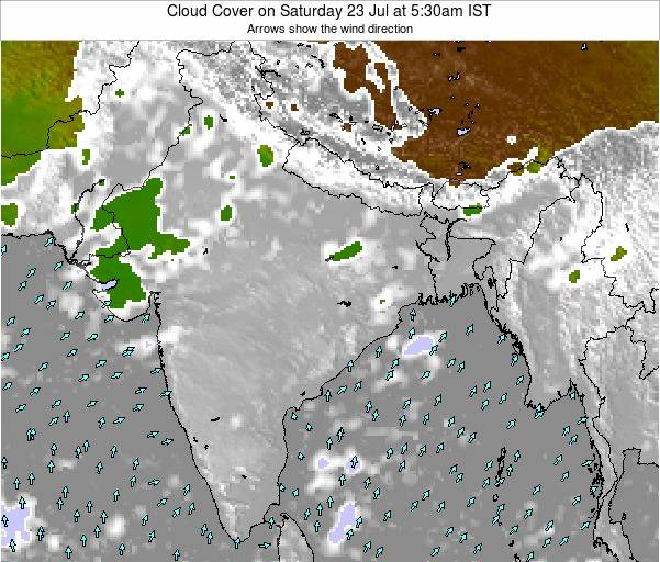 India Cloud Cover on Friday 14 Mar at 11:30am IST