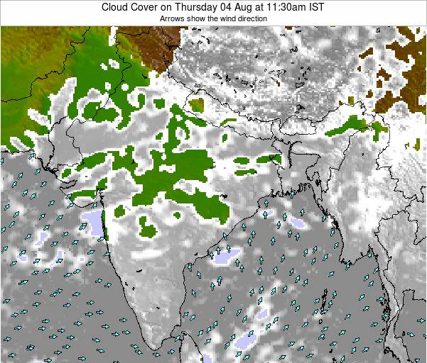 India Cloud Cover on Friday 27 Jan at 11:30am IST