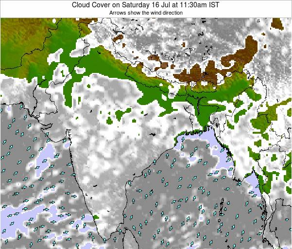 Bangladesh Cloud Cover on Sunday 26 Oct at 5:30am IST