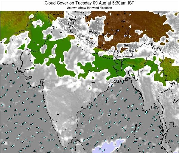 India Cloud Cover on Saturday 25 May at 11:30am IST