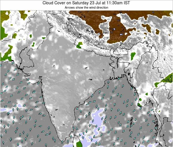 India Cloud Cover on Tuesday 11 Mar at 5:30am IST