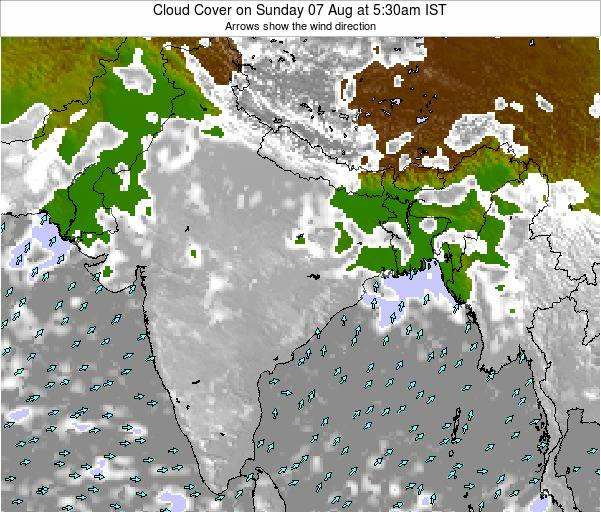 Bangladesh Cloud Cover on Saturday 01 Nov at 5:30pm IST