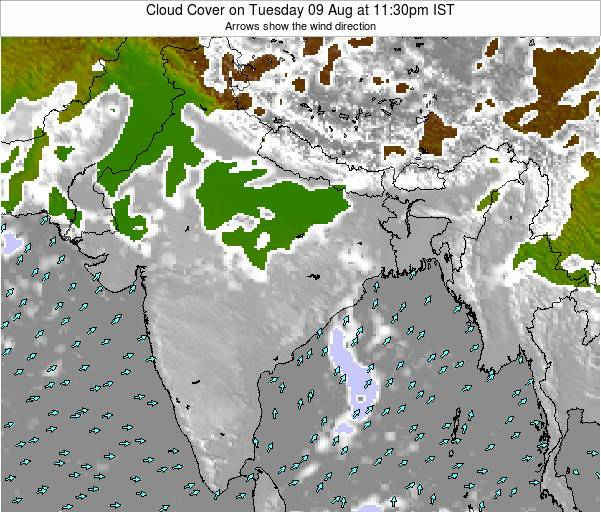 Bangladesh Cloud Cover on Monday 24 Jun at 5:30pm IST