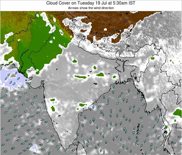 India Cloud Cover on Thursday 30 Oct at 5:30am IST