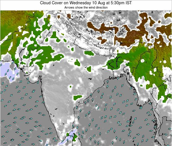 Bangladesh Cloud Cover on Monday 24 Jun at 11:30pm IST