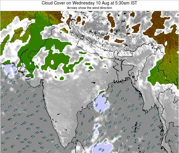 India Cloud Cover on Friday 13 Dec at 11:30am IST