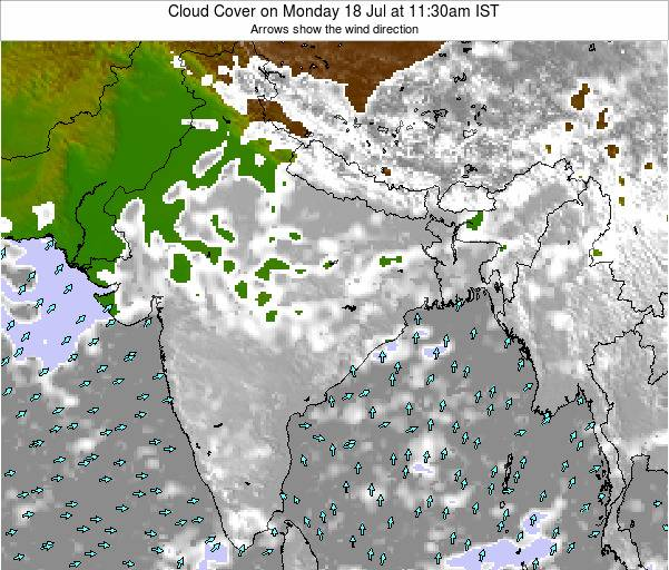 India Cloud Cover on Monday 04 Aug at 11:30pm IST