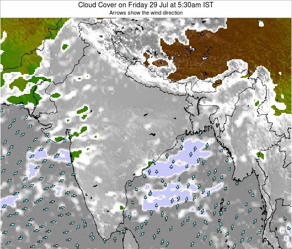 India Cloud Cover on Monday 12 Oct at 11:30pm IST