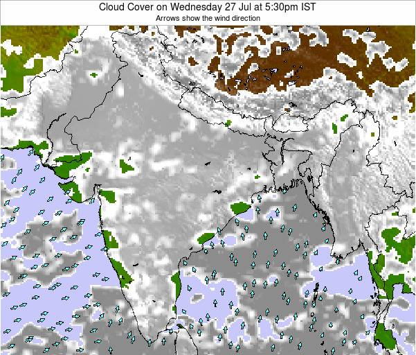 India Cloud Cover on Thursday 23 May at 5:30pm IST