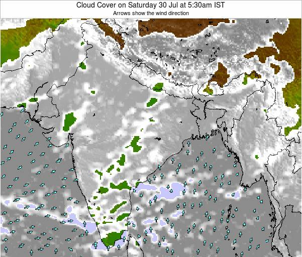 India Cloud Cover on Saturday 27 Sep at 5:30am IST