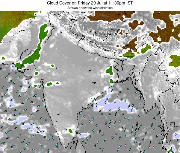 India Cloud Cover on Monday 25 Aug at 5:30pm IST