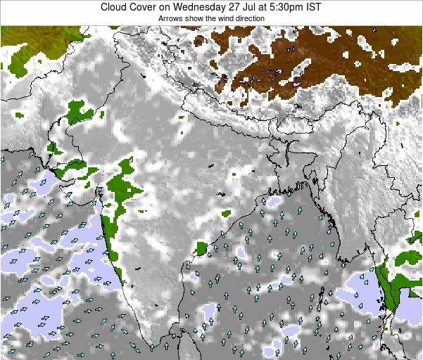 India Cloud Cover on Tuesday 07 Apr at 5:30am IST