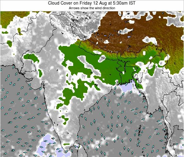 India Cloud Cover on Monday 27 May at 5:30pm IST