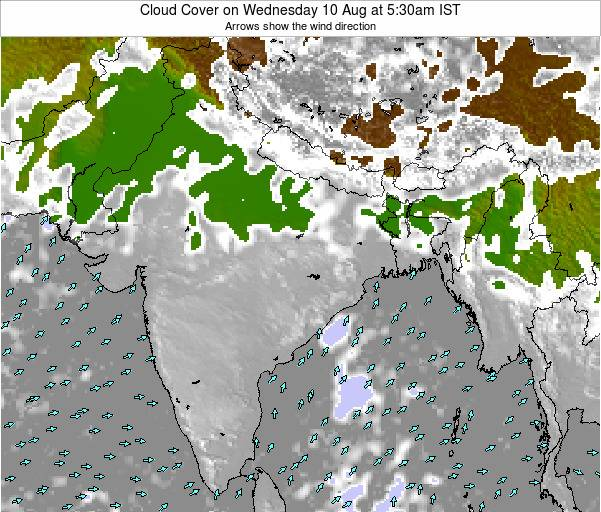 Bangladesh Cloud Cover on Tuesday 02 Aug at 5:30am IST